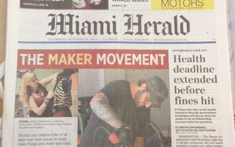 This past Friday, the front page of the Miami Herald featured the growing maker movement in South Florida! The article featured growing makerspaces, the upcoming Miami Mini Maker Faire and […]